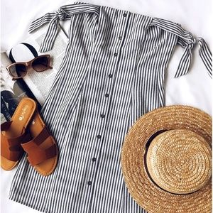 Lulus over the shoulders stripes dress NWT